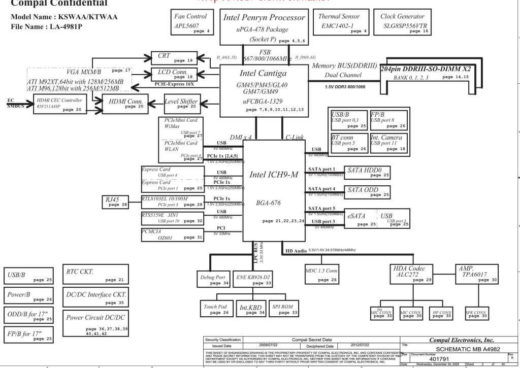Toshiba Satellite L500/L550 schematic