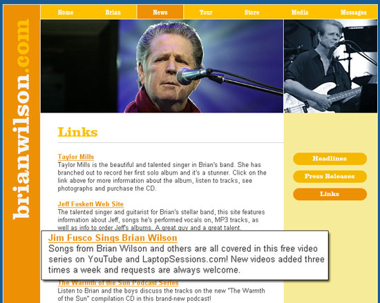 brian wilson website on the laptop sessions acoustic cover songs music video blog