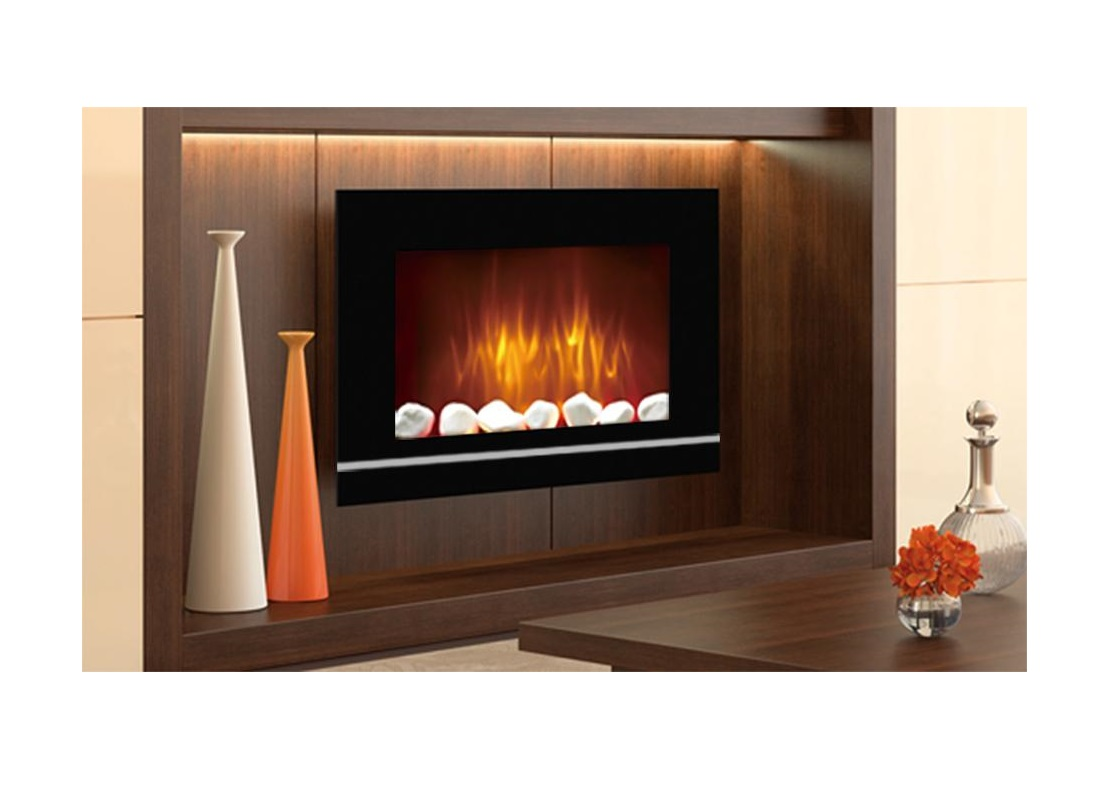 Wall Mounted Glass Electric Fireplace Fire Heater Remote