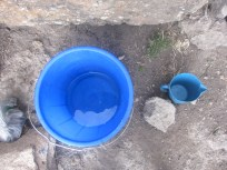 El agua de que disponía para ducharme