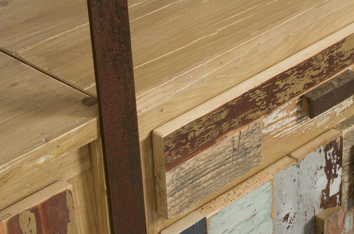 parete attrezzata ferro e legno vintage controprogetto