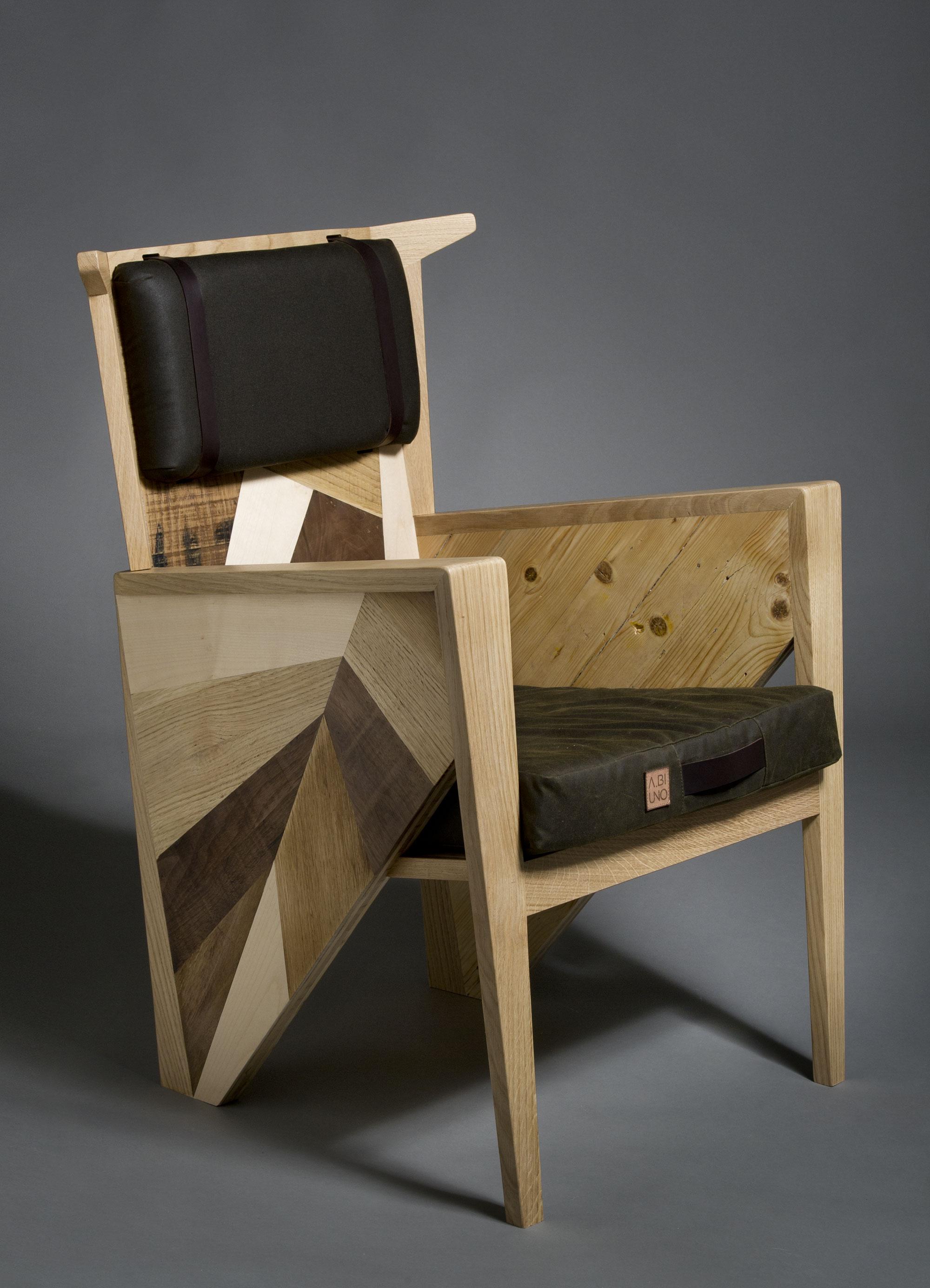 Poltrona in legno riciclato e legno massello con cuscini sfoderabili in waxed canvas. Abiuno e Laquercia21 poltrona di design
