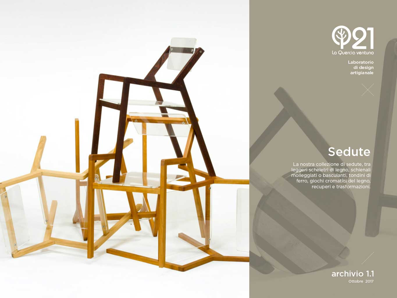 Sedie artigianali in legno, ferro e plexiglass