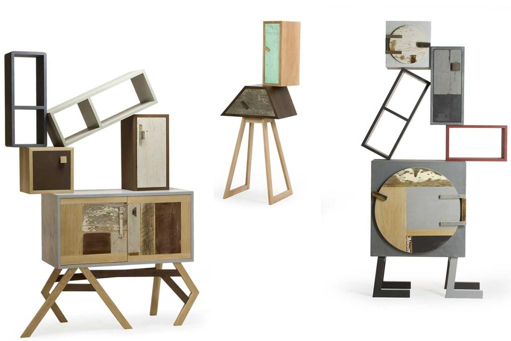 Mobili scultura fatti a mano e su misura in legno massello rovere e moduli componibili laccati colore