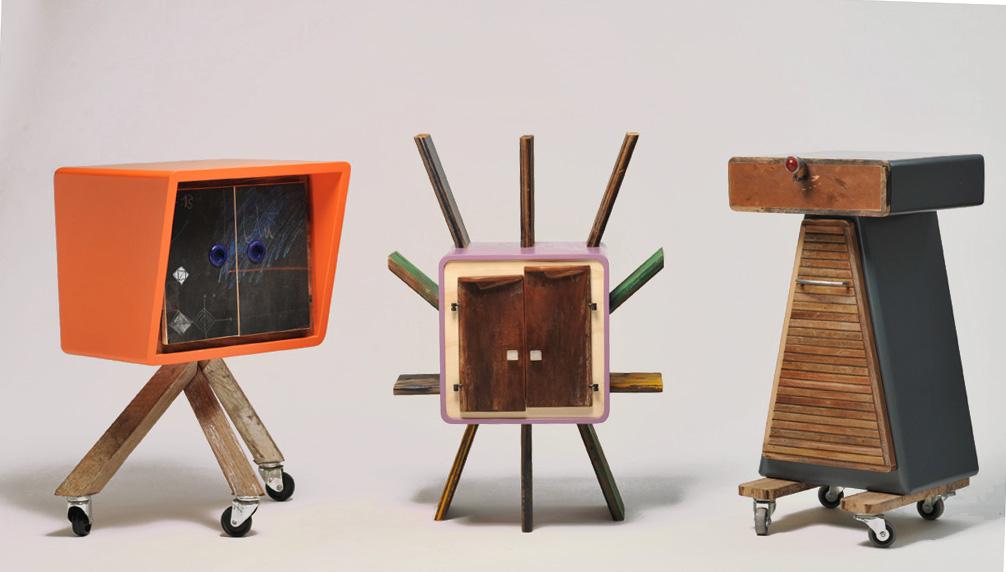 Arredi di design contemporaneo con legno riciclato, vintage futurista