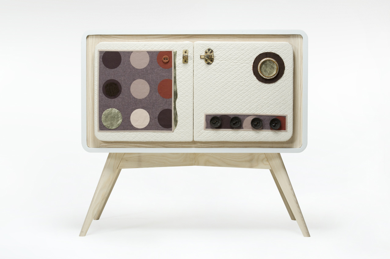 mobile rovere massello stoffa vintage