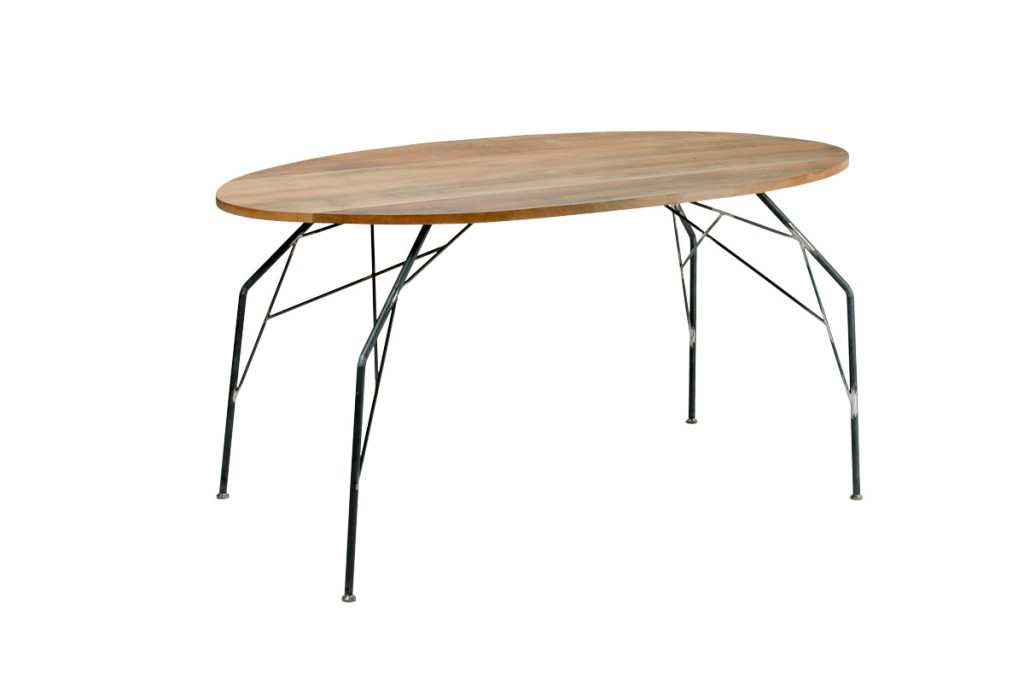 tavolo fisso piano in legno massello striato e gambe in ferro sottile