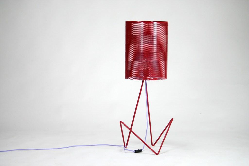 lampada design tondino di ferro rosso