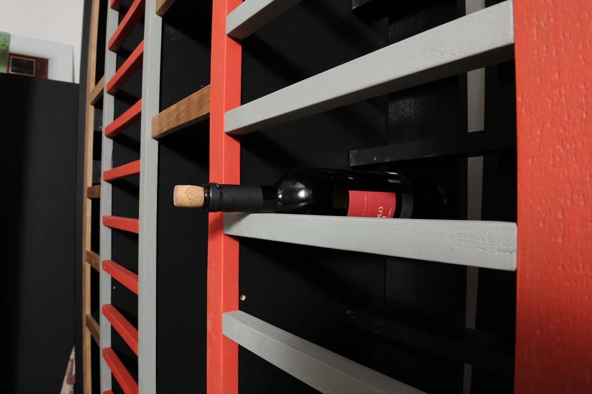 parete attrezzata per vino in legno contemporanea