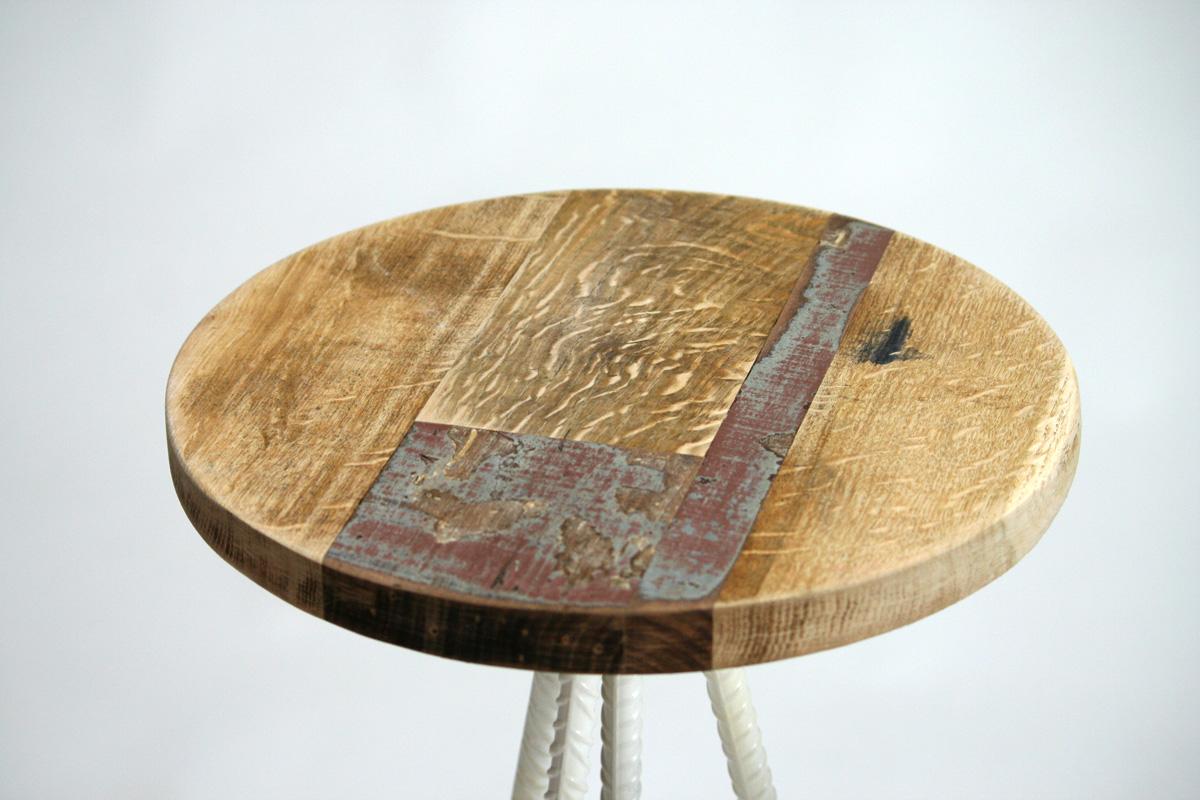 seduta sgabello alto da bar ferro e legno vintage