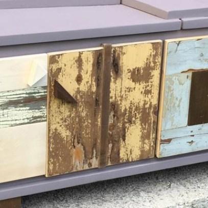 laccatura lilla e legno vintage rigenerato scrap wood