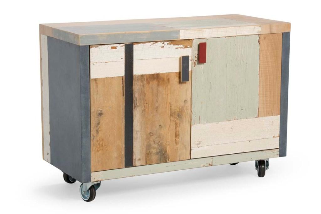 armadio per ufficio in stile industriale legno di recupero con ruote
