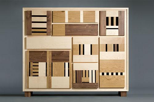 credenza alta con ante e cassetti in legno massello noce, acero, rovere senza maniglia design contemporaneo