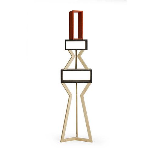mobile espositore in legno massello e laccatura colorata. mobile scultura
