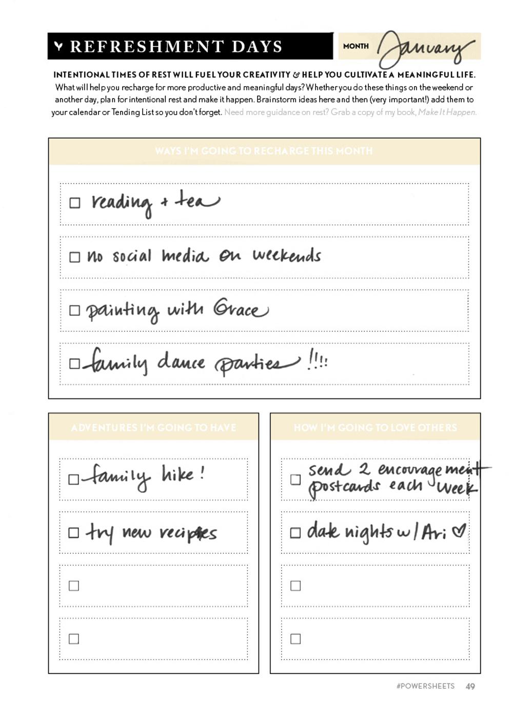 PowerSheet Examples Lara Casey
