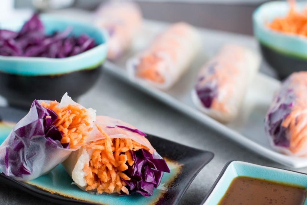 cauliflower rice spring roll