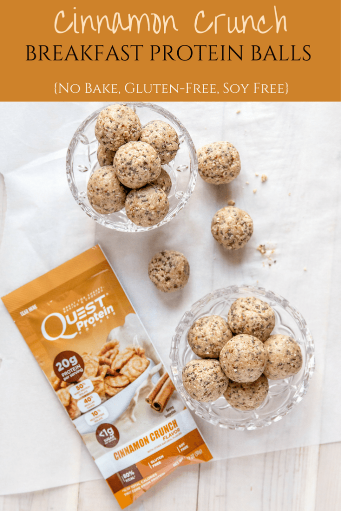 Quick and easy, no bake and gluten-free. These Cinnamon Crunch Breakfast Protein Balls are the perfect on the go meal or snack your entire family will love! #AD