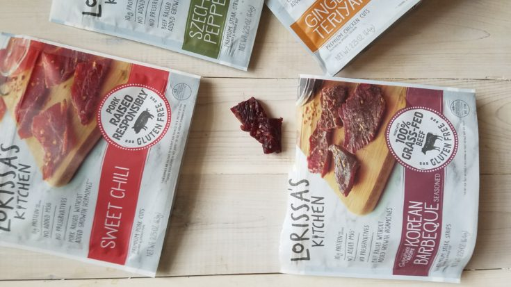 Over head shot of all of Lorissa's Kitchen products which are a good keto snack ideas