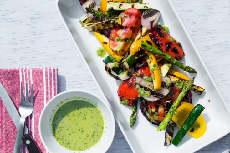 {Nourish} Grilled Vegetable Salad with Zucchini Salsa Verde