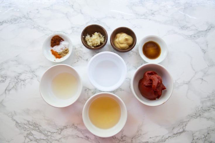 Ingredients to make a keto BBQ Sauce recipe