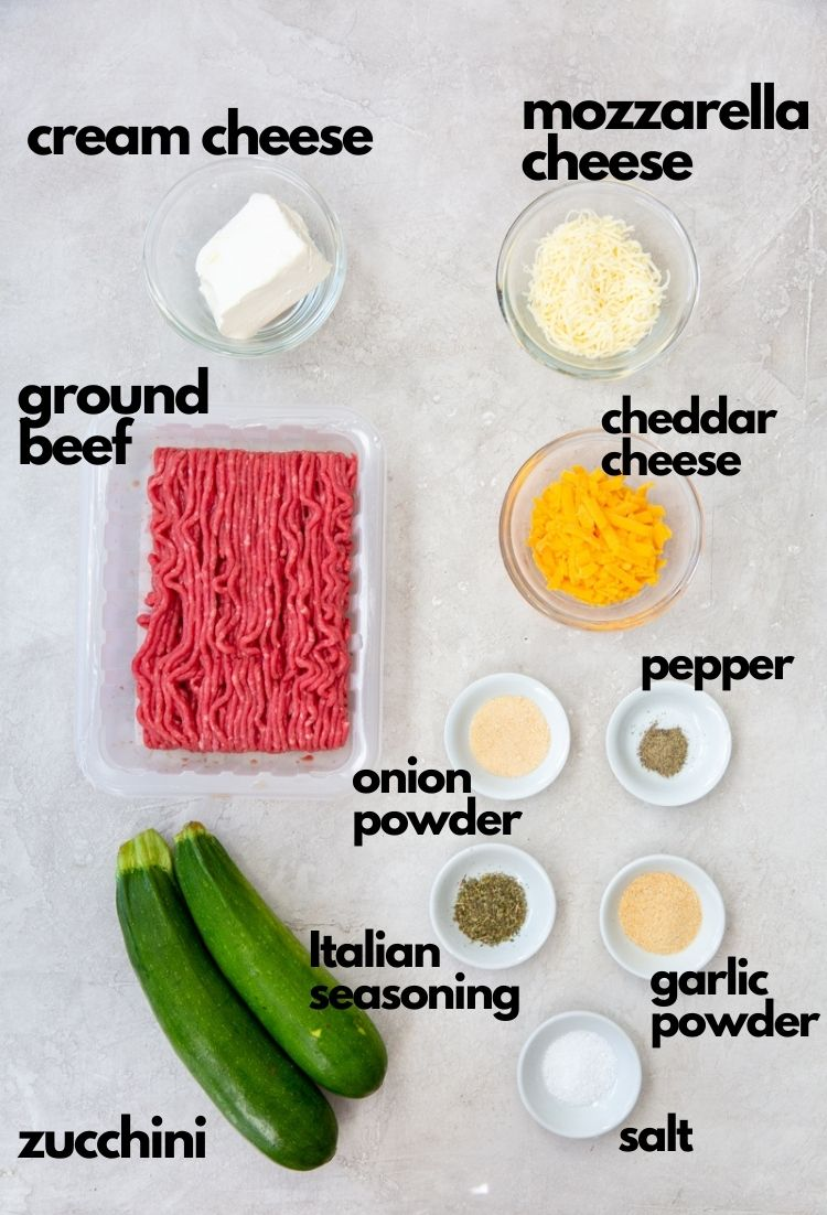 picture collage of ingredients for keto ground beef casserole