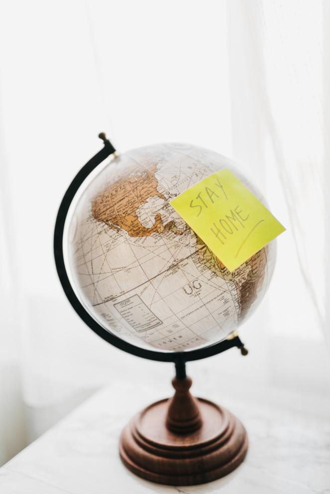 World with Stay Home Yellow Sticky