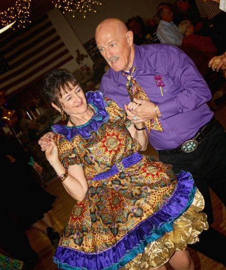 Normal life: Lin and I dressed up for our wedding and a square dance!