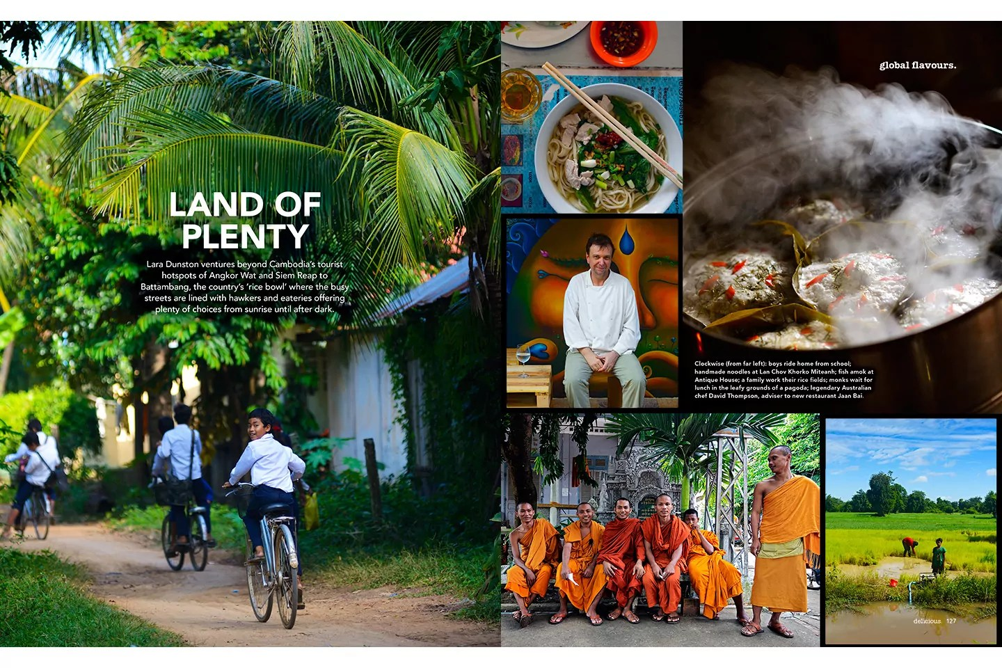 BBC Delicious Magazine (Australia). Global Plates feature on Battambang, Cambodia. Lara Dunston.