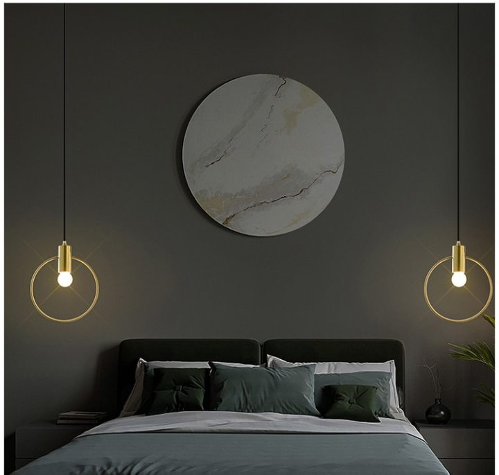 Ins Wind Personality Pendant Lights Single Head Ring For Bedroom Bedside Dinning Bar Porch Lighting Fixture Hanging Lamp