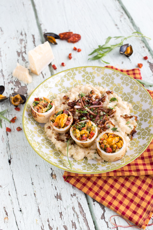 encornets moule chorizo courgette, risotto estragon et tentacules d'encornets