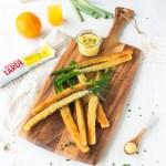 poireaux panés vinaigrette à l'orange