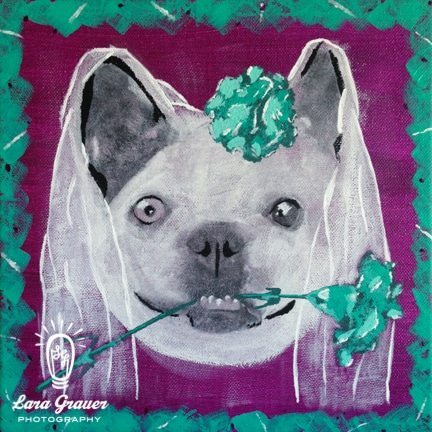 French+bulldog+with+flowers+and+veil