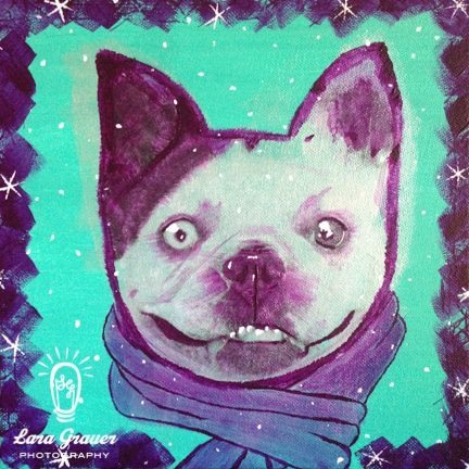 French+bulldog+with+scarf+and+snowflakes