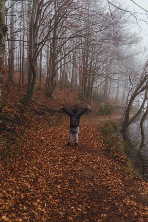 anonymous person standing on footpath in autumn