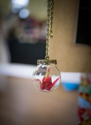 Origami in Globe Necklace. 35cm drop from back of neck/ sits in bust area.