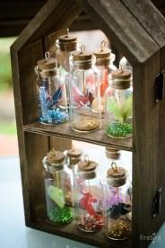 Mini origami in bottle.