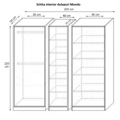 Dulap Mondo cu Etajera, Alb Fibros, H220 cm, balamale cu amortizor