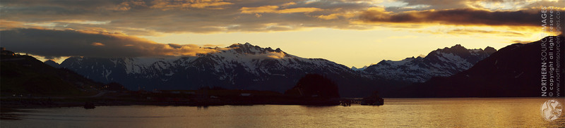 Valdez Pipeline Terminal at sunset in July.COPYRIGHT NORTHERN SOURCE IMAGES © 2012