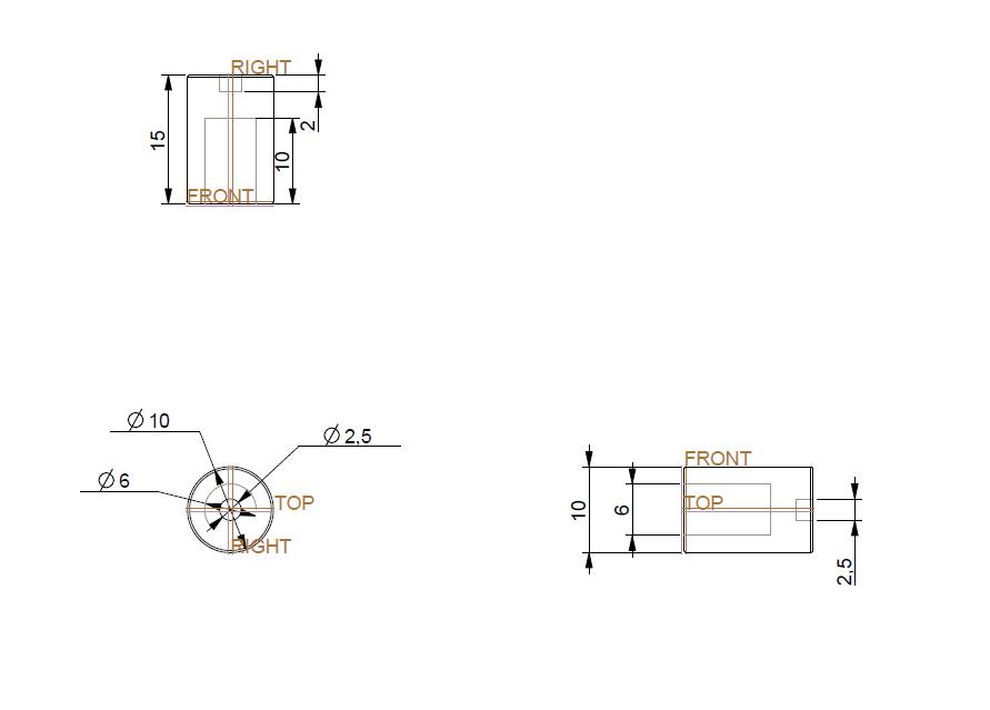 Dimensions du coupleur dessinées sur PRO/INGINEER