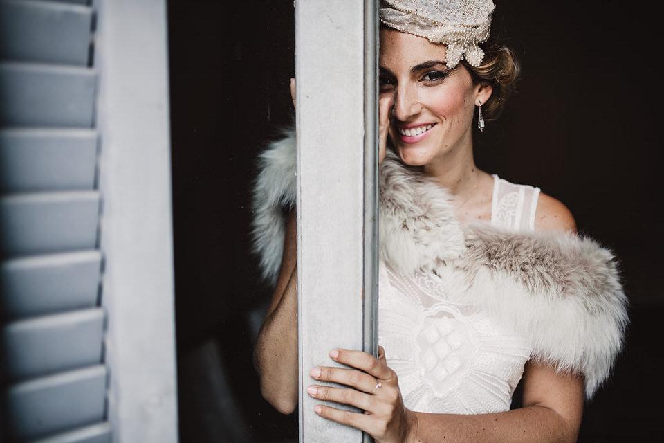 Vestido de novia años 20 pedrería