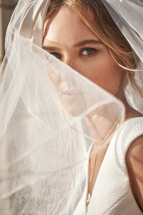 Vintage bride with pants and veil