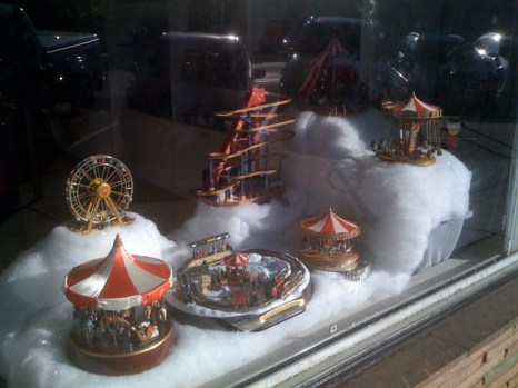 Snow in Collectors Haven Window Display in Larchmont