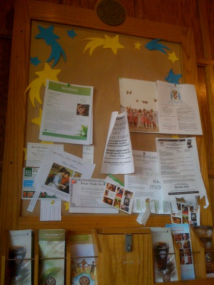 Bulletin Board at The Coffee Bean in Larchmont