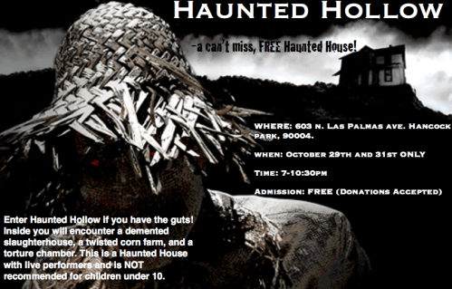 Haunted House: Hancock Park: Free Admission