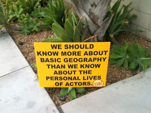Larchmont Village Geography and Actors Guerilla Sign