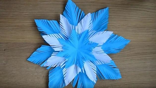 Пушистые снежинки своими руками   красивое украшение для Нового года pushistaya snezhinka 22