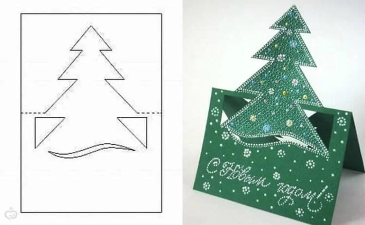 کارت پستال برای سال جدید با دستان خود: صنایع دستی ساده و اصلی در مهد کودک و مدرسه Novogodnyaya otkrytka Svoimi Rukami 104