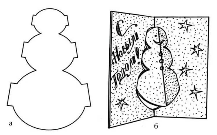 Жаңа жылға арналған ашықхаттар Өзіңіздің қолыңызбен: балабақшадағы қарапайым және ерекше қолөнер және мектеп Мектептегі Новогодняя Открятка Свойми Руками 98
