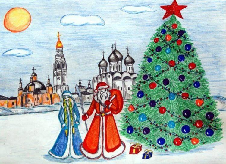 Рисунки на новогоднюю тематику: что можно нарисовать на Новый год risunki na novogodnyuyu temu 65