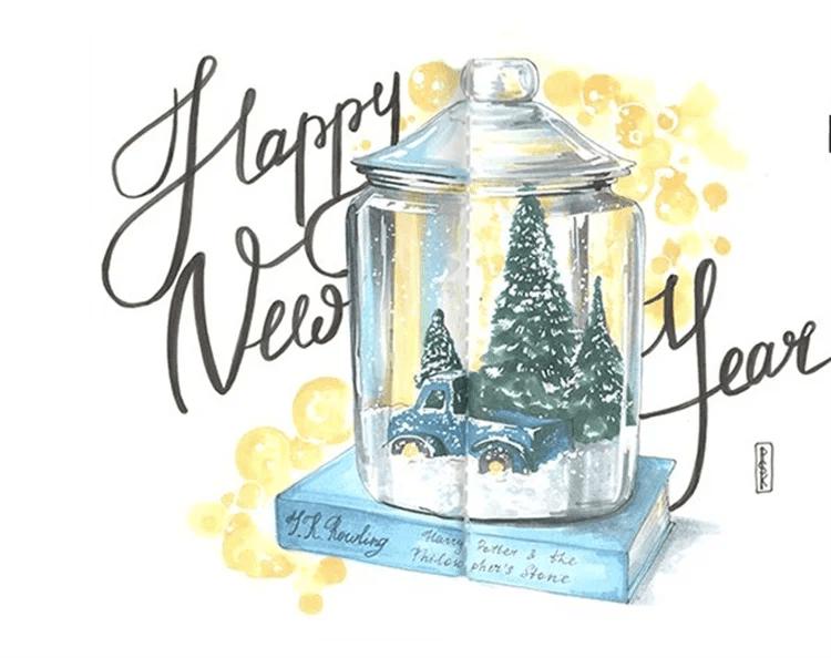 크리스마스 주제를위한 도면 : 새해를 위해 무엇을 그릴 수 있습니까? Risunki NovoDnyuyu Temu 72